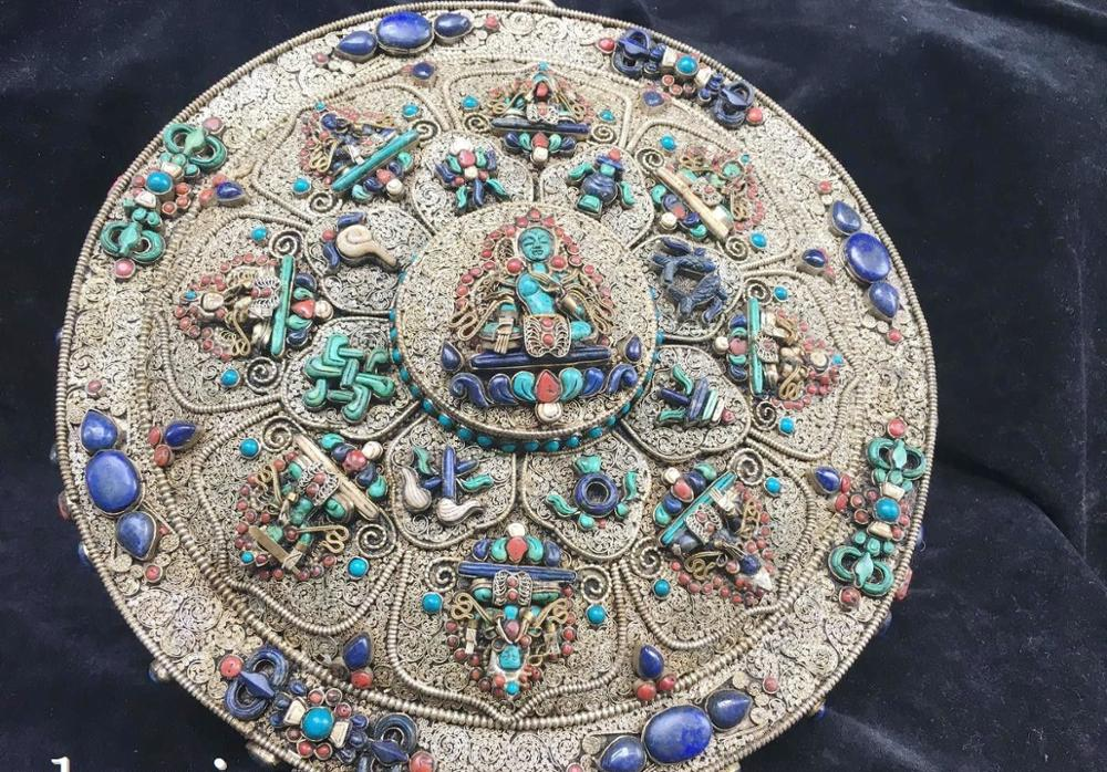 Tibet Nepal Handicraft Silver Filigree Inlay Gem Turquoise Buddha Tara Hanging