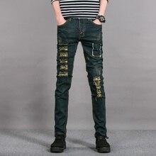 Envmenst 2016 разорвал узкие черные джинсы мужские Хип-Хоп рок уличный стиль жан брюки slim fit брюки для мужчин проблемных джинсы
