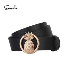 Eaenda Womens Belt Waist Lovely Belts For Women Female Newest Design Fashion Gold Pineapple PU Leather Strap ceinture femme