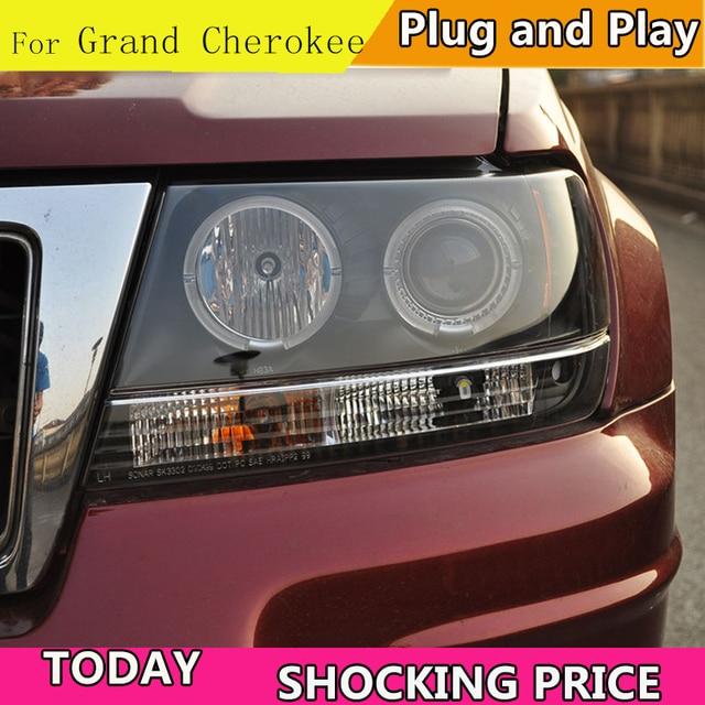 Doxa تصفيف السيارة ل جيب جراند شيروكي 1999 2004 LED العلوي زينون HID الجبهة ضوء LED DRL عيون الملاك