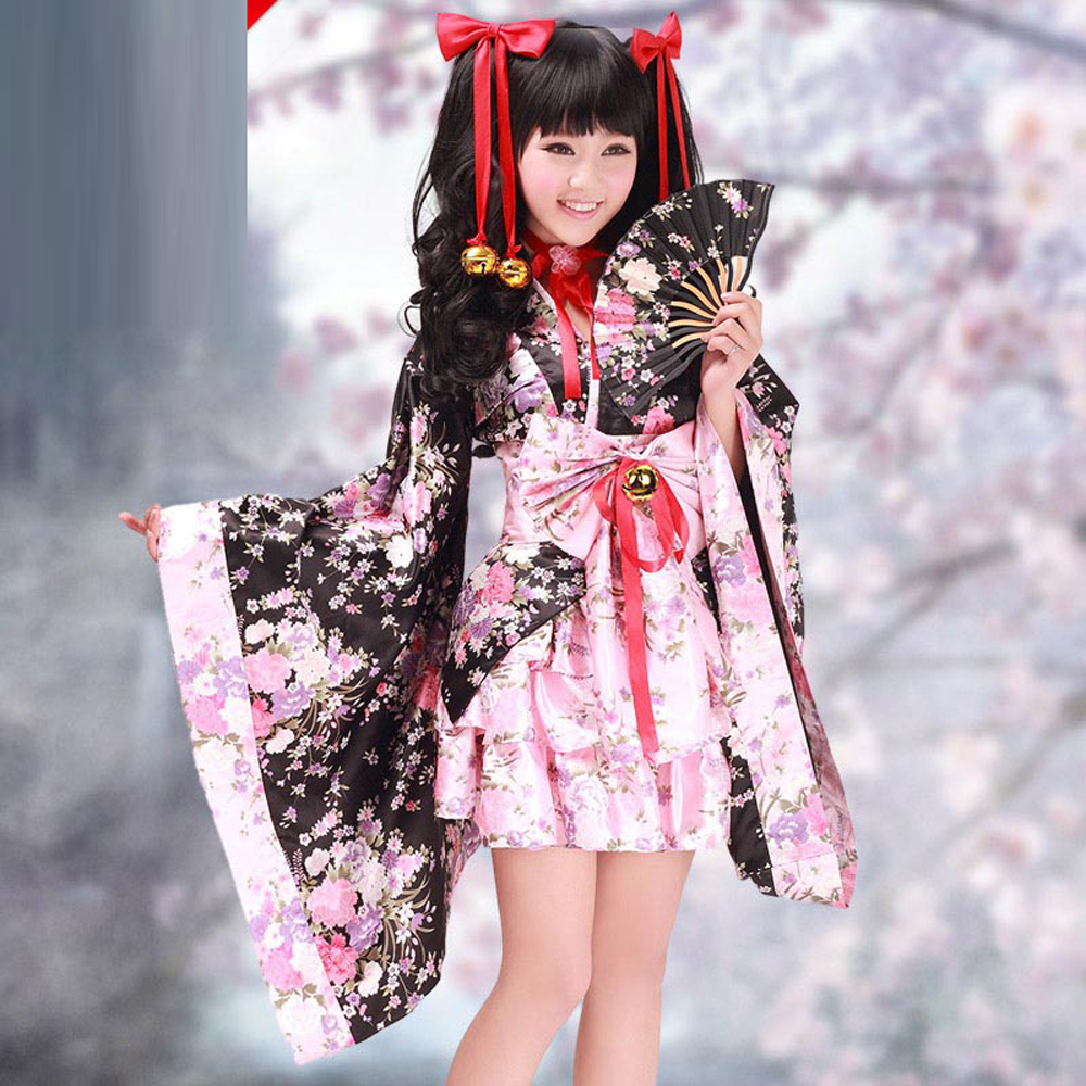 Halloween costumes for women anime kimono maid cosplay costume Bow pink Cherry blossom evening party lolita dresses with Bells