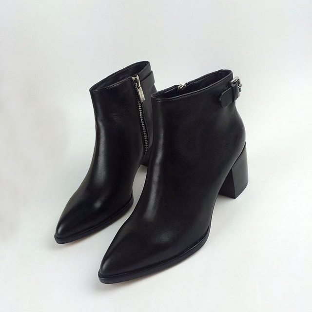 12d7d78c3c3 New Womens Ladies Buckle Pointed Toe Mid Heel Real Leather Zipper Saylor Ankle  Boots Shoes Motorcycle Bootie Shoe
