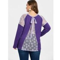 SexeMara Plus Size Sheer Lace Panel T shirt Women Long Sleeve Purple Tunic Warm O Neck Casual Loose Tshirt