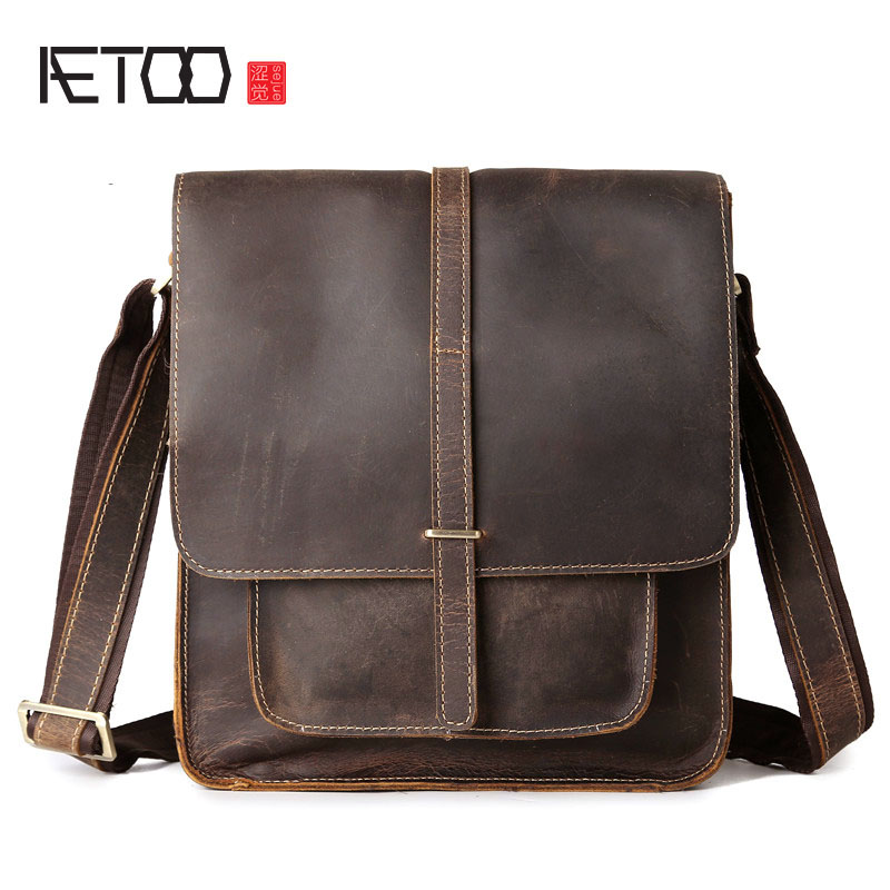 AETOO Men's first layer of cowhide frenzy Pippi long layer of leather shoulder bag oblique across the package mad horse skin aetoo the new retro mad horse skin backpack fashion shoulder shoulder leather package tide package
