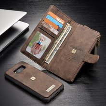 Оригинальный многофункциональный кожаный бумажник телефон случаях для samsung galaxy s8 case для samsung s8 плюс case чехол молния кошелек мешок