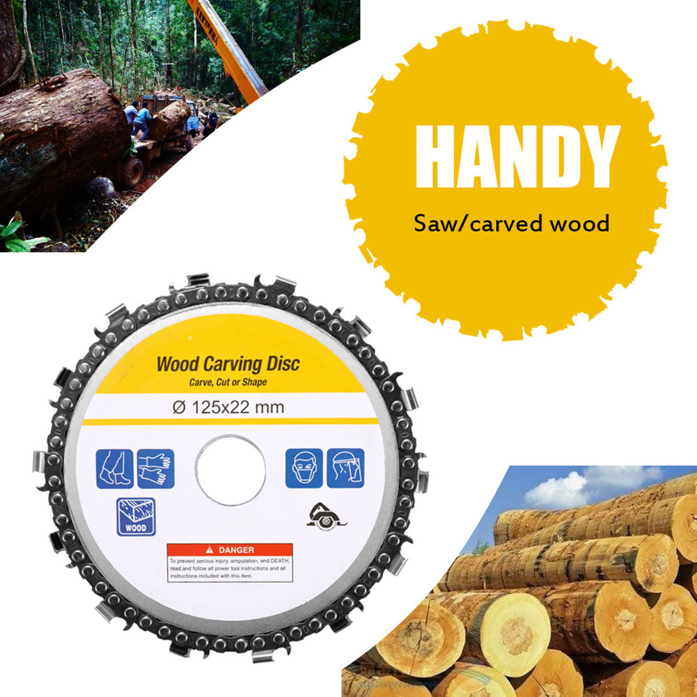 Newly 5 Inch Grinder Chain Disc Arbor 14 Teeth Wood Carving Disc For 125mm Angle Grinder TE889