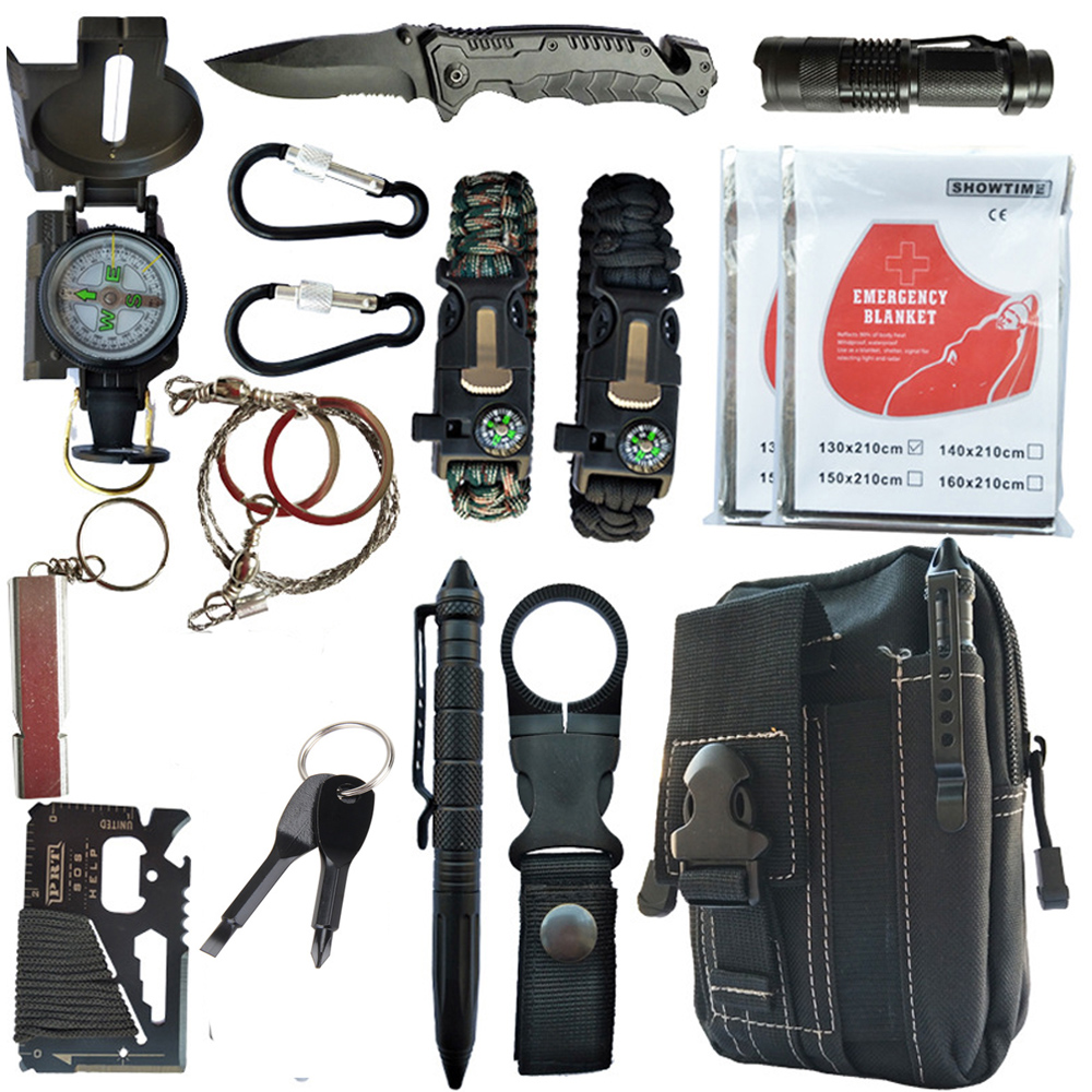 16 In1Emergency Survival  Kit Gear Multi Tool First Aid Kit Outdoor Camping Equipment Survival Whistle Flashlight Tactical Pen