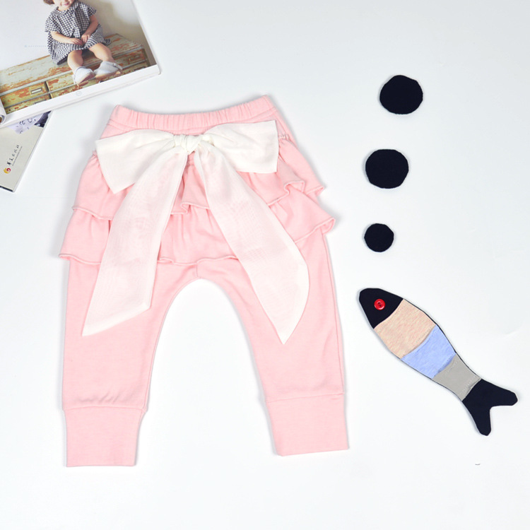 03602c624 2016 Ins New Big Lace Bow knot Baby Girls Pp Harem Pants Infant Bebe ...
