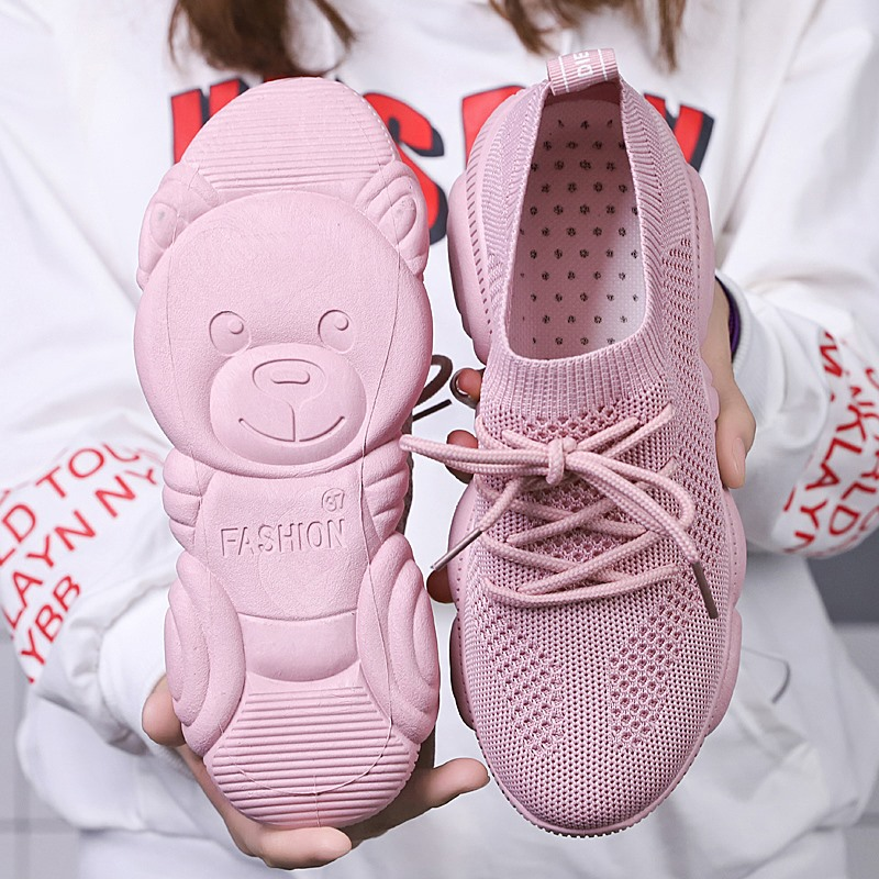 TOSJC Lady  Vulcanized Shoes Casual Sneaker Popular Bear Shoes Pink Color  Sneakers Women  Zapatos De Mujer(China)