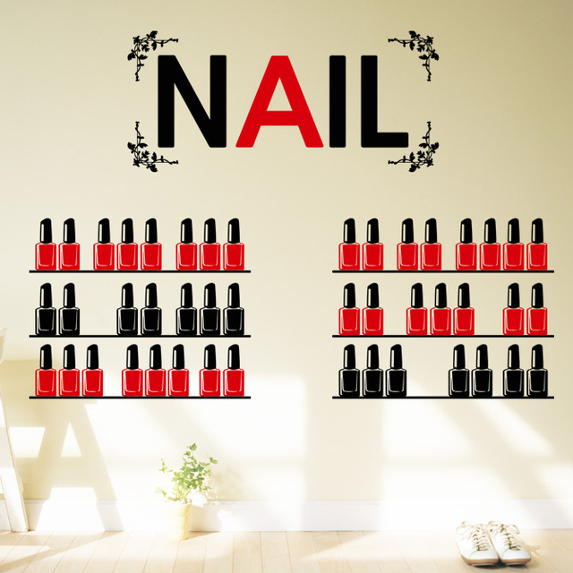 DCTAL Nail Salon Wall Stickers, Nail Salon Wall Decals For Glass ...