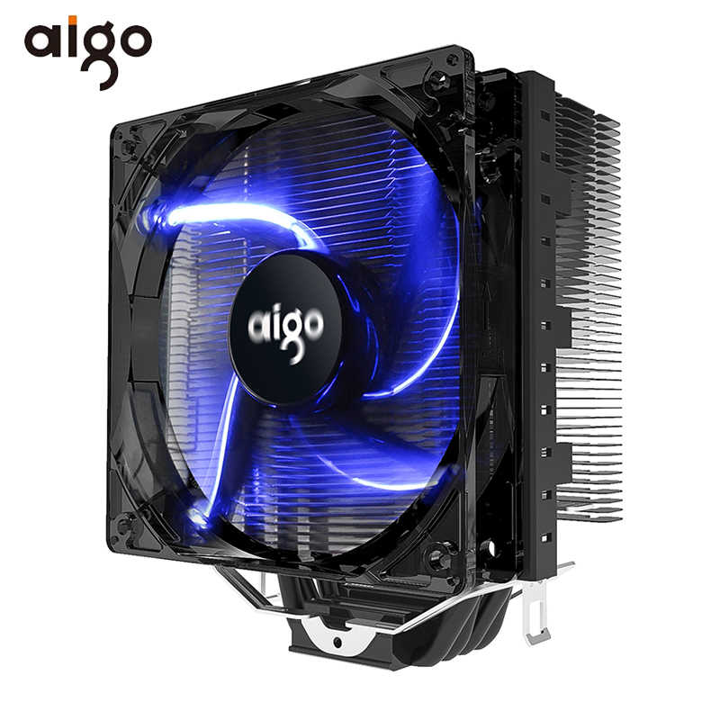 Aigo CPU Cooler 4 Heatpipes CPU Cooler Radiator untuk AMD Intel 775/115/AM3/AM4 Biru LED silent Pendingin Cpu 120 Mm 4pin CPU Fan