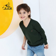 I K Children Brand Sweaters For Boy Spring Autumn V Neck Solid Knitted Cotton Soft Baby