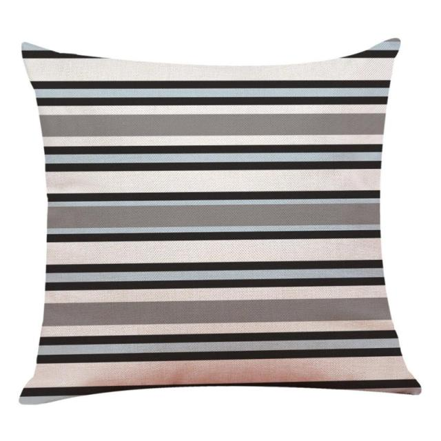 Geometric Patterned Linen Cushion Cover