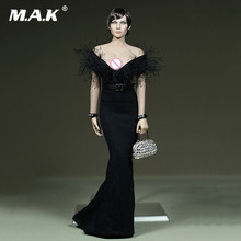 "1/6 Scale Female Cloth Evening Dress Black Tight Deep V Toy F 12"" TBLeague Body(China)"