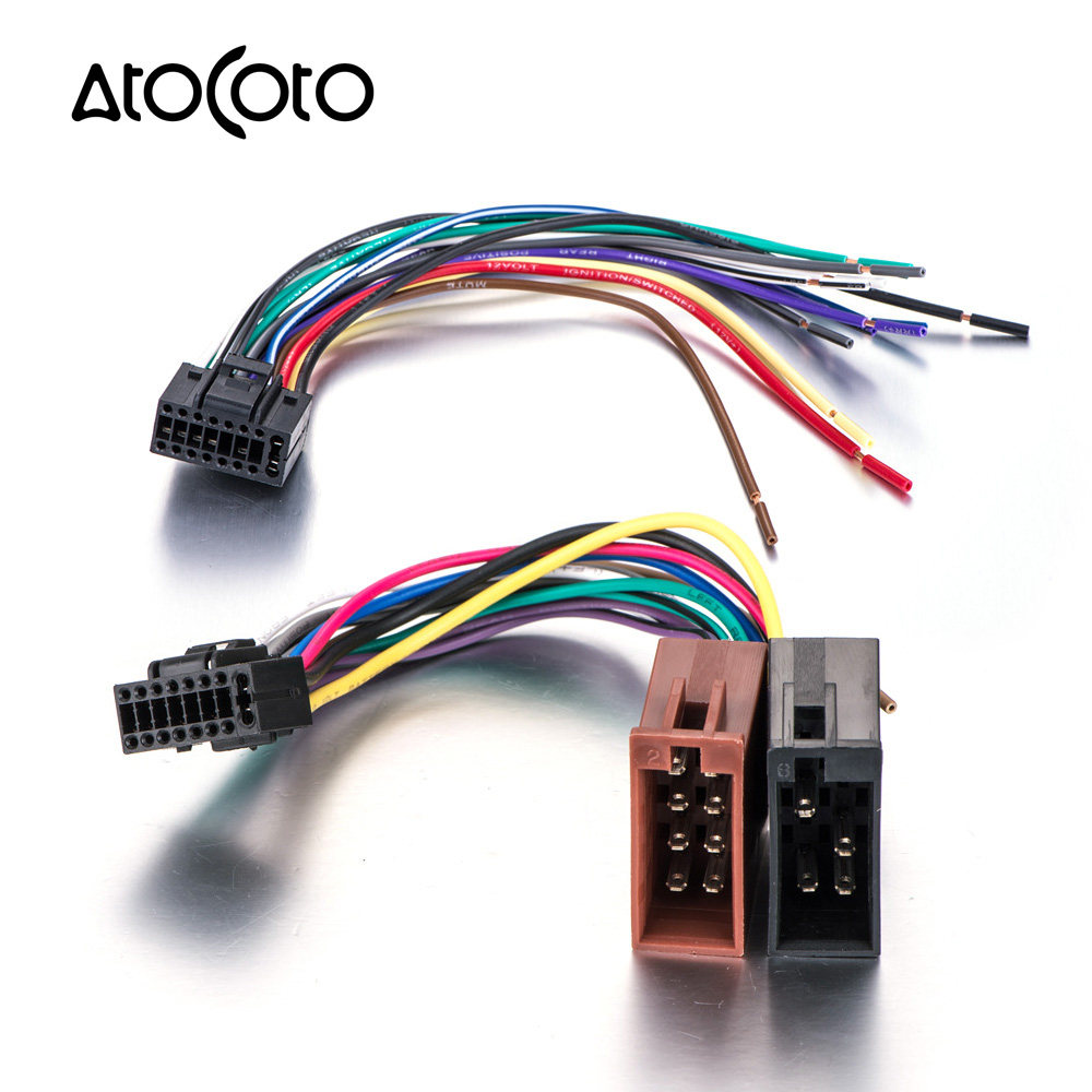 Online Shop Atocoto Wiring Harness Connector Wire Adapter For Jensen Plugs Car Stereo Radio Iso Standard Adaptor Plug Cable Kenwood 16 Pin