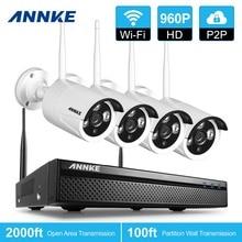 ANNKE 4CH Sistema de CCTV Wireless 960 P NVR 4 UNIDS 1.3MP P2P Wifi IP CCTV IR Al Aire Libre Sistema de Cámaras de Seguridad Kit de vigilancia