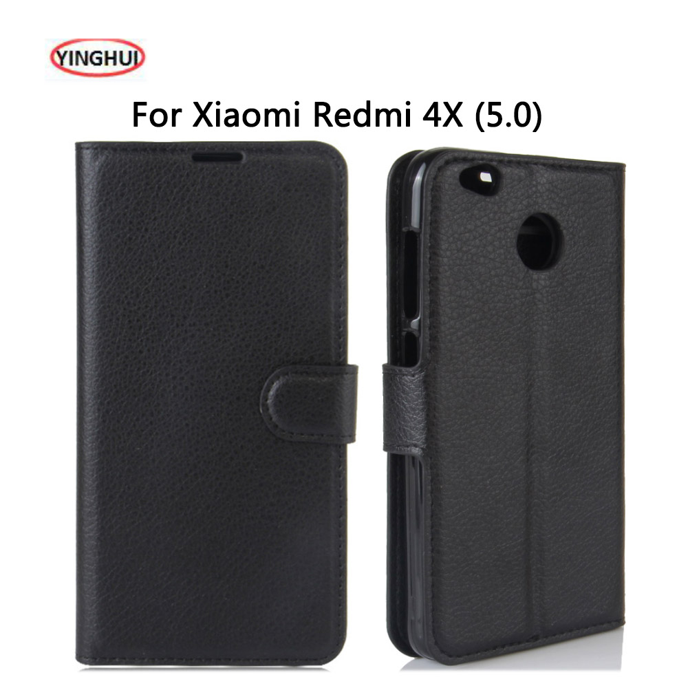 los angeles 069f1 14ce1 YINGHUI Luxury PU Leather Smart Flip Cover For Xiaomi Redmi 4X Case Stand  Wallet For Xaomi Redmi 4X 4 X Protective Phone Fundas-in Flip Cases from ...
