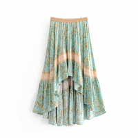 Runway 2019 Europe Women's Turquoise Printing Skirt Designer Patchwork Elastic Waist Female Cotton Big Hem Irregular Long Skirts