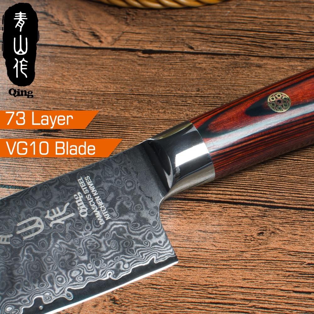 """QING damaszek nóż 8 """"Chef 7"""" do krojenia nóż santoku VG10 rdzeń damaszek noże kuchenne zestaw kolor drewna uchwyt gotowania narzędzia w Noże kuchenne od Dom i ogród na  Grupa 3"""