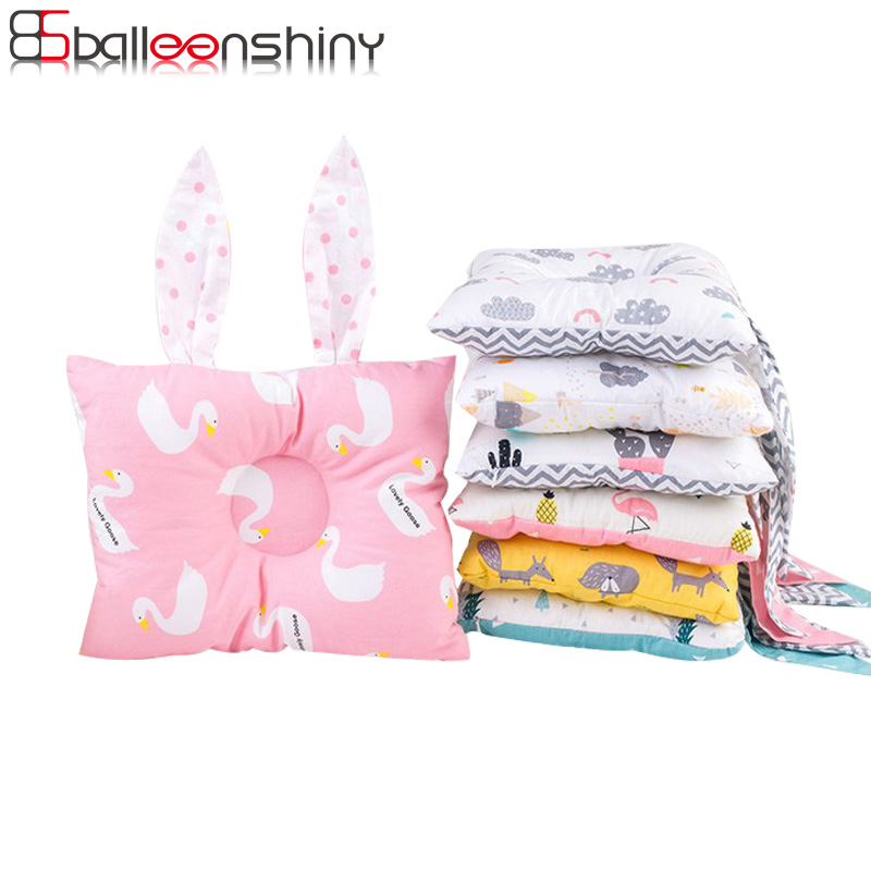 BalleenShiny Baby Rabbit Ears Pillow Newborn Infant Soft Cotton Cute Hot Sale Shaping Pillow Bedding Decoration Anti Roll Pillow