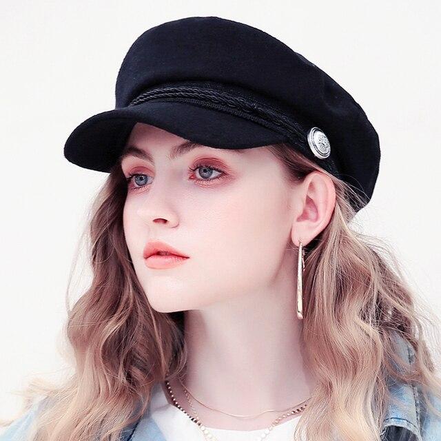 Women Baseball Cap Hats For Women Winter Octagonal Fashion French Wool Baker's Boy Hat Cap Female Black Streetwear Caps 2019