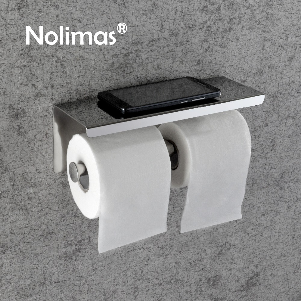 Toilet Paper Holder Stainless Steel Wall Mounted Double Toilet Paper Holder With Mobile Phone Rack Bathroom Accessories free shipping drb stainless steel paper holder for wall mounted hotel bathroom toilet paper holder