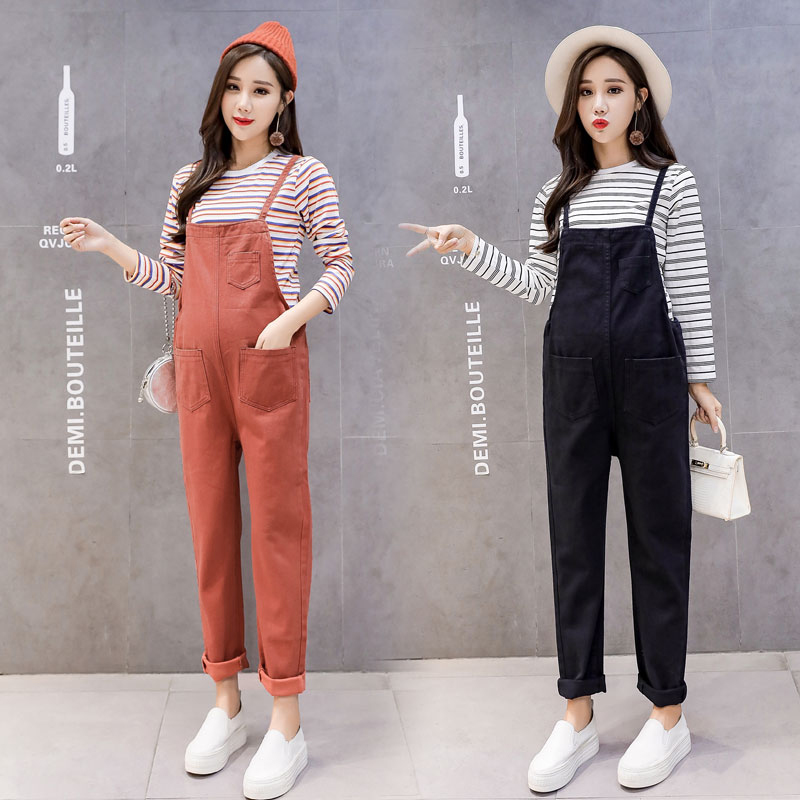 Cotton Maternity Jumpsuits Winter Pregnancy Clothes High Waist Overalls Braces Pants For Pregnant Women Clothing Jeans high waist jeans rushed cotton zipper fly high plaid loose 2016 korean women summer new straight scraping hole cutoff jeans