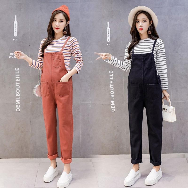 купить Cotton Maternity Jumpsuits Winter Pregnancy Clothes High Waist Overalls Braces Pants For Pregnant Women Clothing Jeans недорого