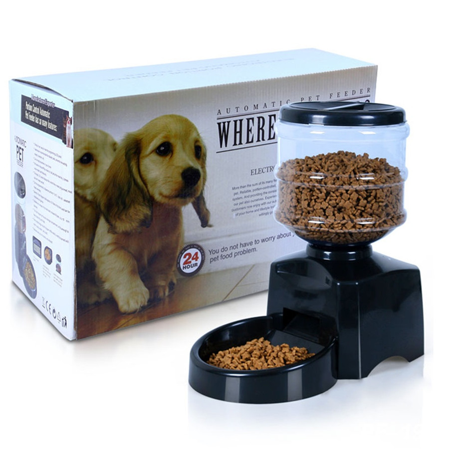Low Cost 55l Black Automatic Pet Feeder For Dog Cat Auto Dispenser Battery Indicator On Lcd