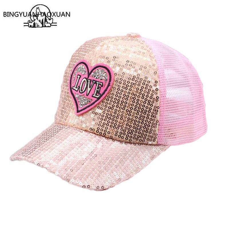 BING YUAN HAO XUAN Boy Girl Fashion Adjustable Trendy Breathable Mesh Sequined Shiny Baseball Caps Summer Sun Snapback Hat