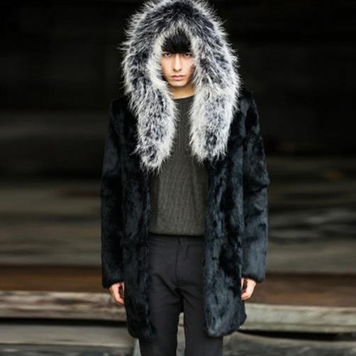 Mens Luxury Faux Fur Furry Hooded Warm Thicken Coat Jacket Outwear Parka