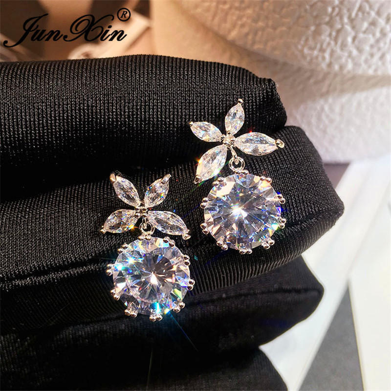 JUNXIN Cute Flower Stud Earrings Silver Color Round White Crystal Stone Wedding Earrings For Women Korean Piercing Jewelry