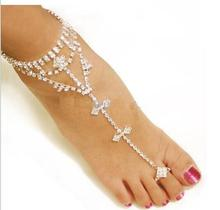 Elegant Rhinestone Anklets with Toe for Women Bride Wedding Jewelry Shine Barefoot Sandals Elegant Bijoux For Mujer Gifts