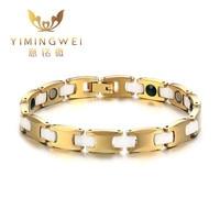 5PCS 8MM Tungsten Steel + Ceramic Magnetic Health Bracelet Golden Men Women Bracelets & Bangles Fashion Jewelry
