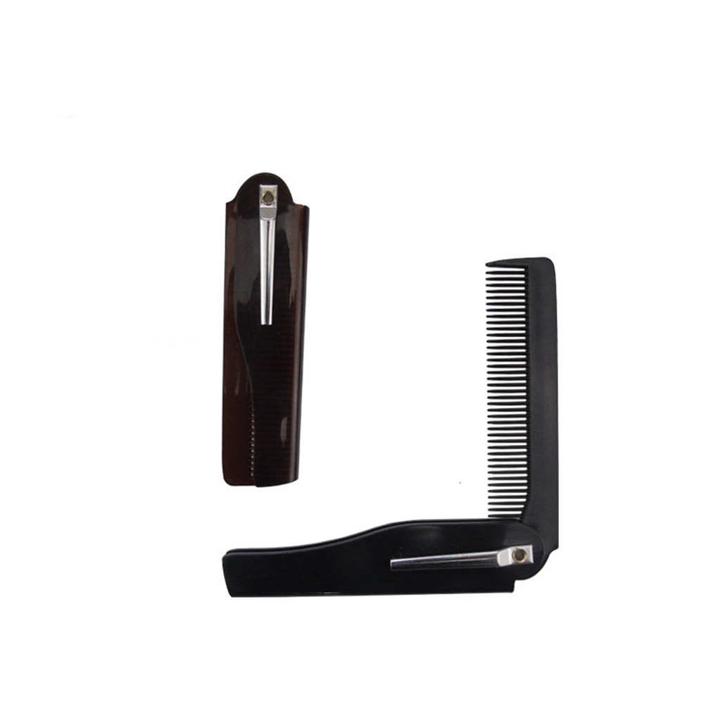 Mens Womens Beauty Handmade Folding Pocket Clip Hair Moustache Beard Comb Hairdressing Tools Hair Brush 1 PC