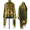 Army Green Chinese Women's Velvet Silk Beaded Embroidery Shawl Scarf Peafowl Free Shipping  SW07-L