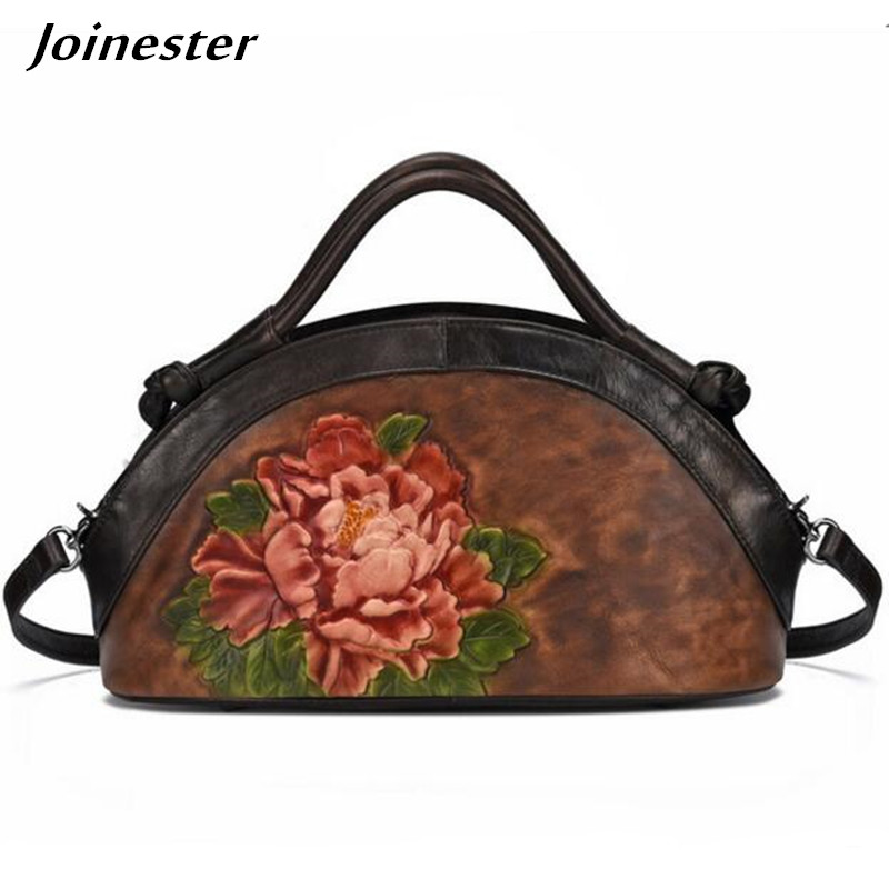 Floral Handbags for Women Vintage Messenger Bags Ladies Leather Casual Bag Medium Hobo Shoulder Bag Top Zipper Crossbody Tote