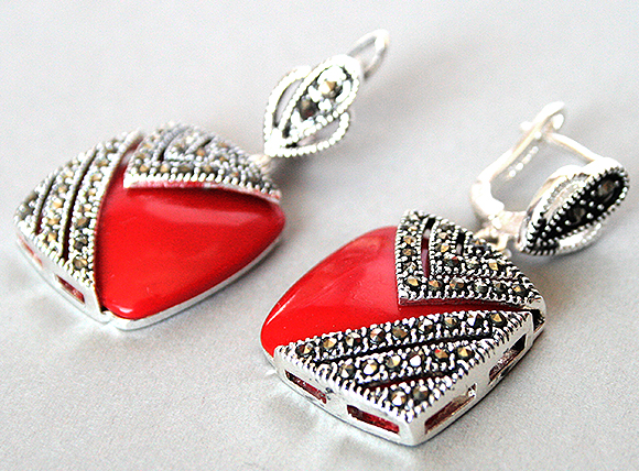 FREE SHIPPING charm lady s 925 Silver Hook Red Coral Marcasite Square Earrings 1