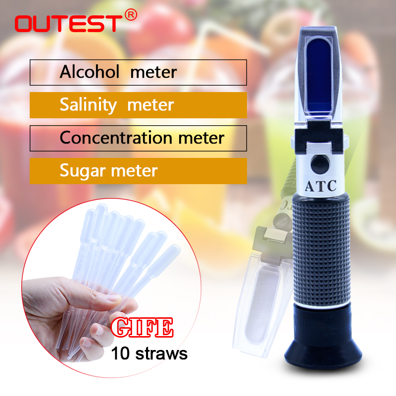 ATC Refractometer brix Analyzers alcoholometer auto refratometro beer honey antifreeze salinity milk sugar meter refractometer atc aluminum refractometer tester glycol antifreeze liquid battery fluid