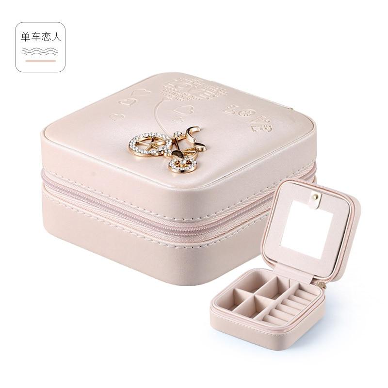 Travel ehted korraldaja kast kosmeetika meik korraldaja Ehted pakend kasti kõrvarõngad ladu Korv Konteiner kingitus kott tüdruk