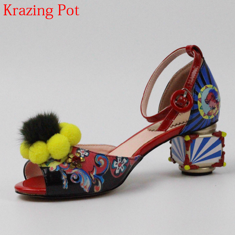 2018 Large Size Superstar Brand Shoes Peep Toe Flowers Print Summer Shoes Peep Toe Med Heels Ankle Strap Wedding Luxury Sandals romyed bridals wedding shoes kim kardashian pumps superstar shoes top quality flowers evening christian shoes size 4 16 shofoo