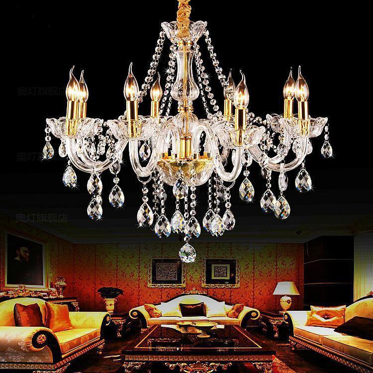 Zlati kristalni lestenec Svetilka Led sijaj para sala Za kuhinjo - Notranja razsvetljava