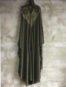 Image 3 - Plus Size Abiti per Le Donne Dashiki Africano Perle di Diamante Africano Vestiti Abaya Dubai Vestito Da Sera Abito Lungo Musulmano Mantello Con Cappuccio