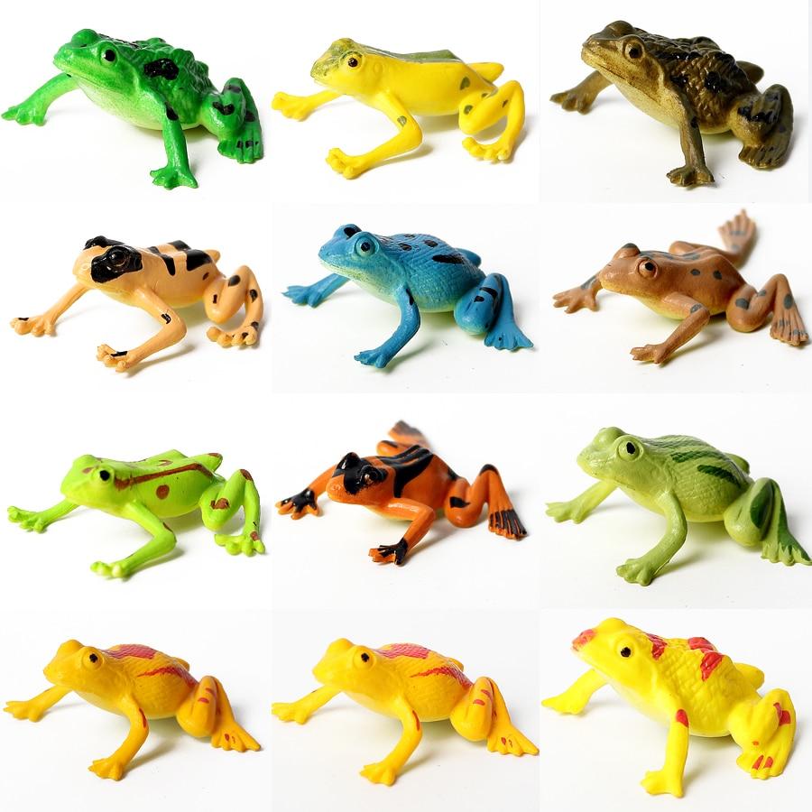 Crafts Frog Plastic Bonsai-Figurines Simulation-Animals Model-Cartoon Anime 12pcs Playset