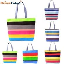 High quality Fashion Lady Color wavy stripes Shopping Handbag Shoulder Canvas Bag Tote Purse