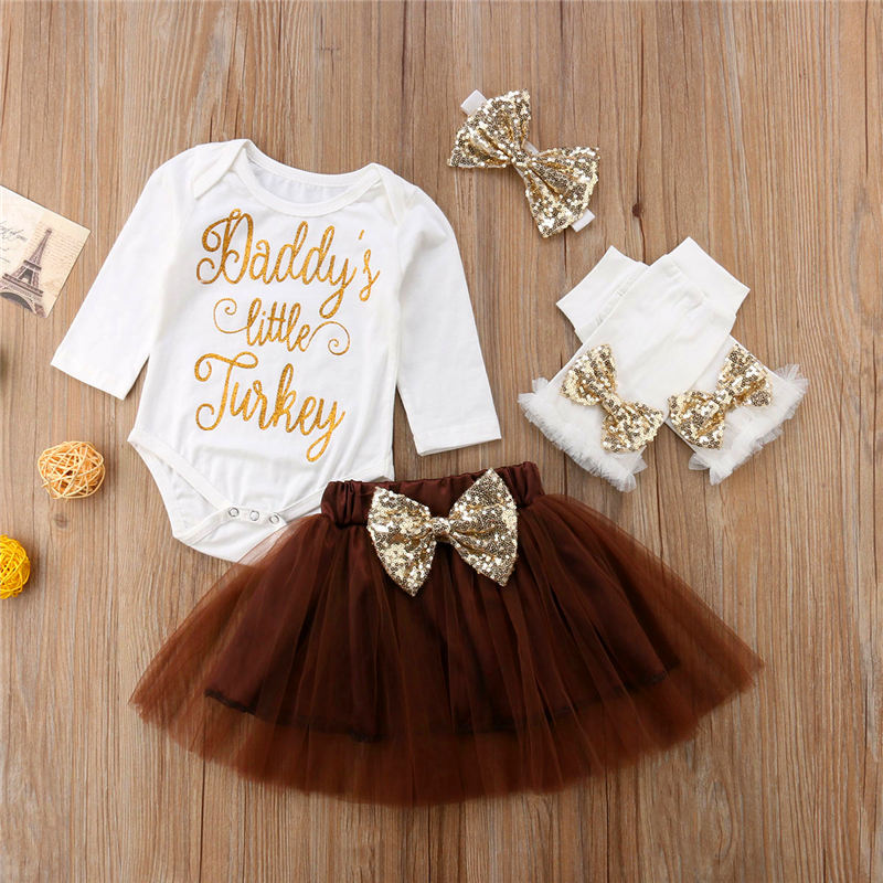 Newborn Baby Girls Party Tutu Outfits Tops Romper&Skirts Leg Warmers Set Thanksgiving Day 3d love baby girl lace romper dress headband leg warmers crib shoes vestido para bebe newborn tutu sets wedding party clothes
