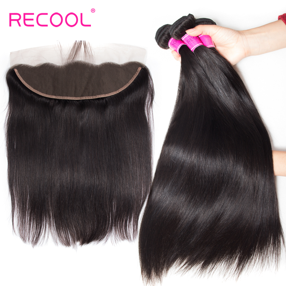Recool Hair Peruvian Straight Hair Bundles With Frontal 3 Bundles With Lace Frontal Closure Natural Color  Remy Human Hair-in 3/4 Bundles with Closure from Hair Extensions & Wigs    1