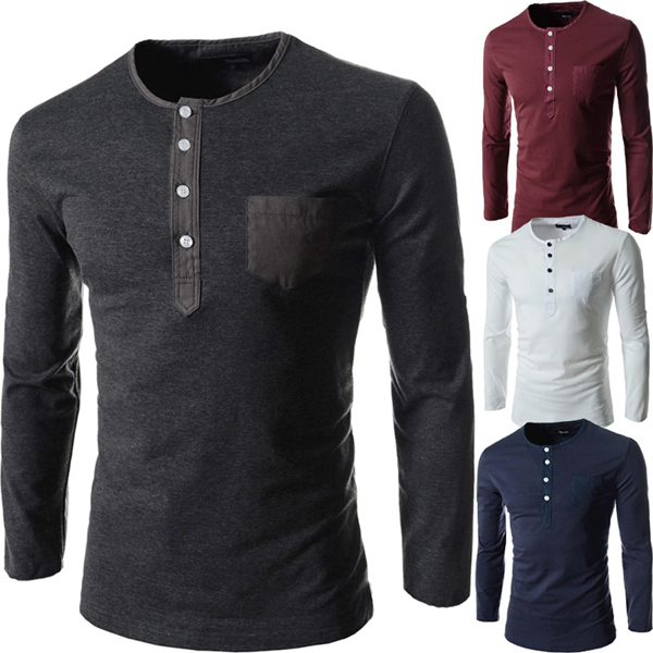 Fashion Cool Men O Neck Long Sleeve Shirt Four Buttons Cotton Slim ...