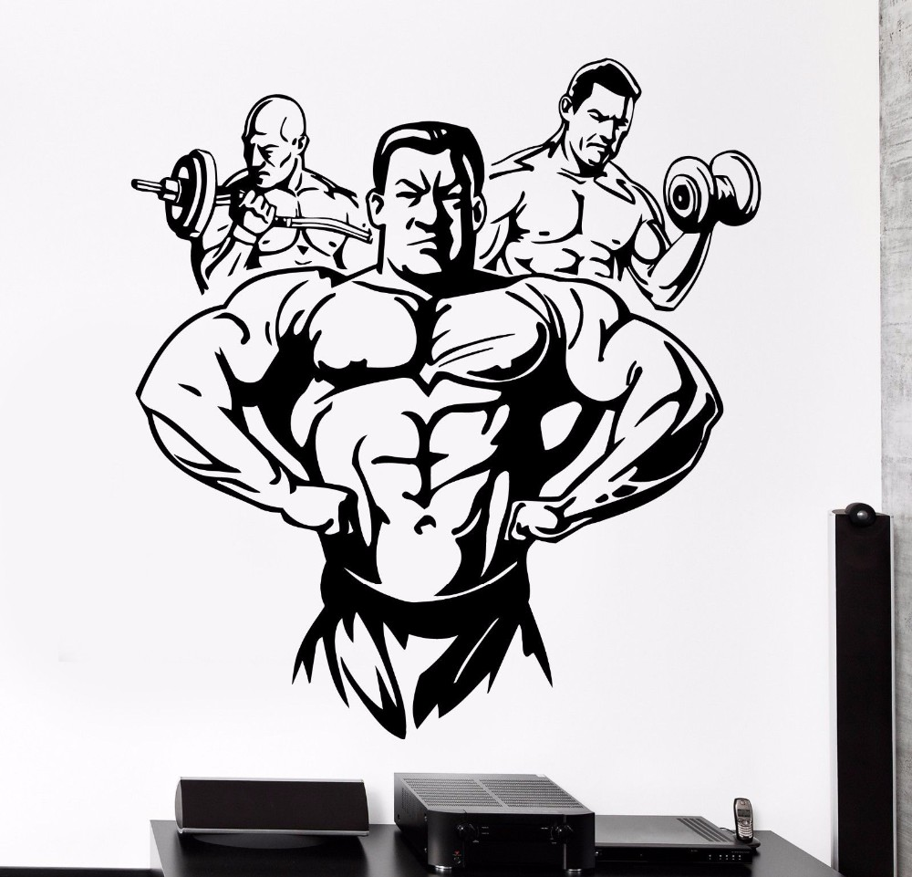 Sticker gym wall - Fitness Muscle Man Dumbbell Barbell Bodybuilder Gym Wall Decal Sport Art Wall Sticker Fitness Centre Bedroom