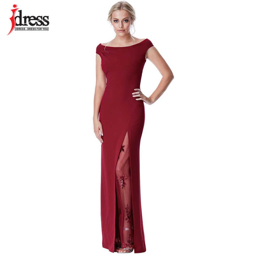 c6e7fe6a154fe11 IDress Мода красный/синий и черный цвет вечерние Праздничное платье  пикантные Разделение блестками вечернее длинное